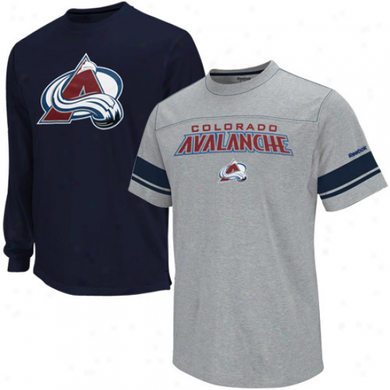 Reebok Colorado Avalanche Youth Navy Blue-ash Package T-shirt Combo Set