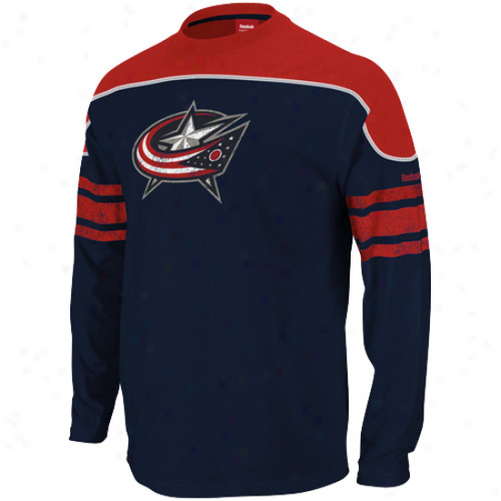 Reebok Columbus Blue Jackets Fac3 Off Shooter Lont Sleeve T-shirt - Navy Blue-red