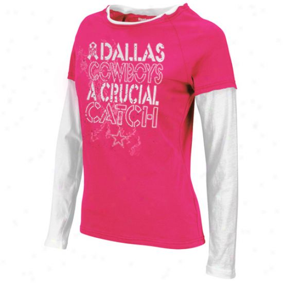 Reebok Dallas Cowboys Ladies Laced Up Doubke Layer Long Sleeve T-shirt - Pink