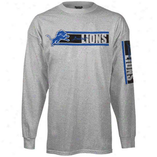 Reebok Detroit Lions The Stripes Long Sleeve T-shirt - Ash
