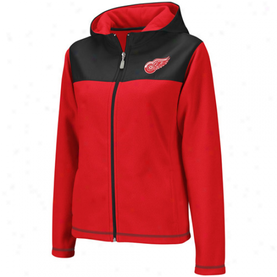 Reebok Detroit Red Wings Ladies Red-black Microfleece Full Zip Hoodie Jacket