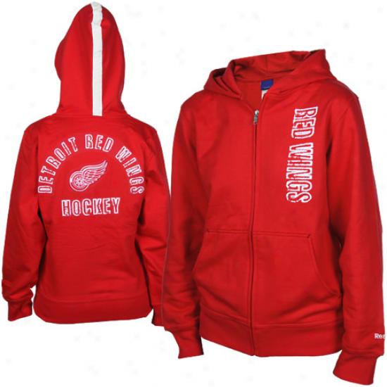Reebok Detroit Red Wings Youth Girls Red Tremor Full Zip Hoodie Sweatshirt