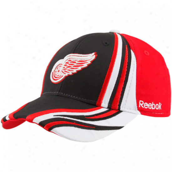 Reebok Detroit Red Wings Youth Red-black Inferno Flex Hat