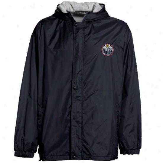 Reebok Edmonton Oilers Navy Blue Legacy Full Zip Hoodie Jacket