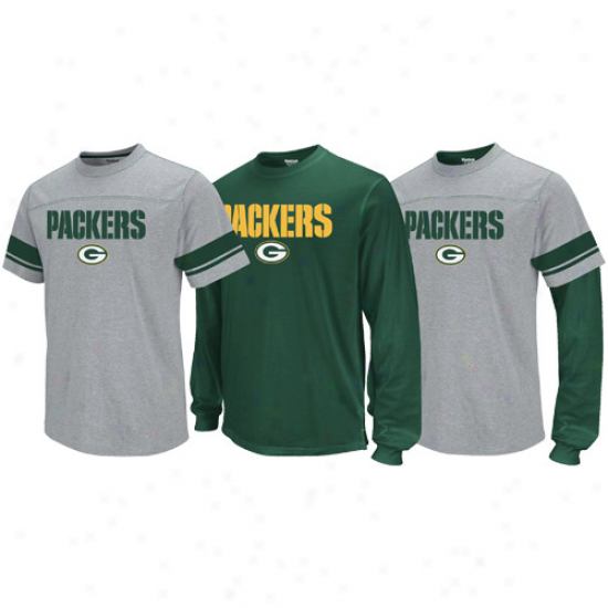 Reebok Green Bay Packers Ash-green Package T-shirt Combo Set