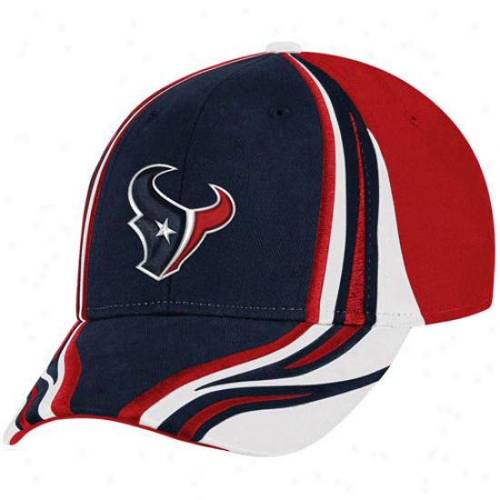 Reebok Houston Texans Navy Blue-red Inferno Flex Hat