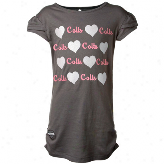 Reebok Indianapolis Colts Youth Girls Charcoal Glitter Hearts T-shirt