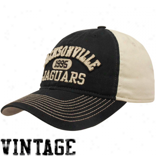 Reebok Jacksonville Jaguars Black-cream Established Lineage Vintage Adjustable Slouch Hat