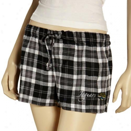 Reebok Jacksonville Jaguars Ladiess Black Plaid Roll Call Pajama Shorts