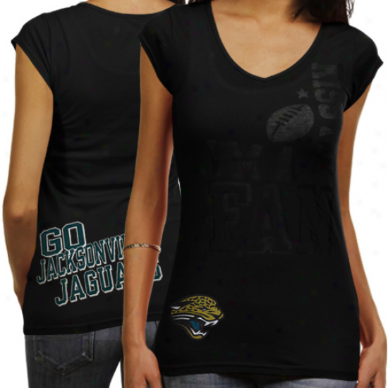 Reebok Jacksonville Jaguars Ladies I'm A Fan Kiss Me Prmeium V-neck T-shirt - Black