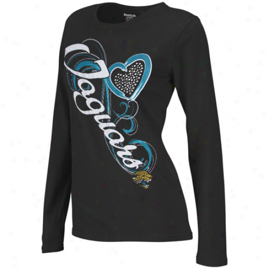 Reebok Jacksonville Jaguars Ladies Sparkle Flourish Long Sleeve T-shirt - Black