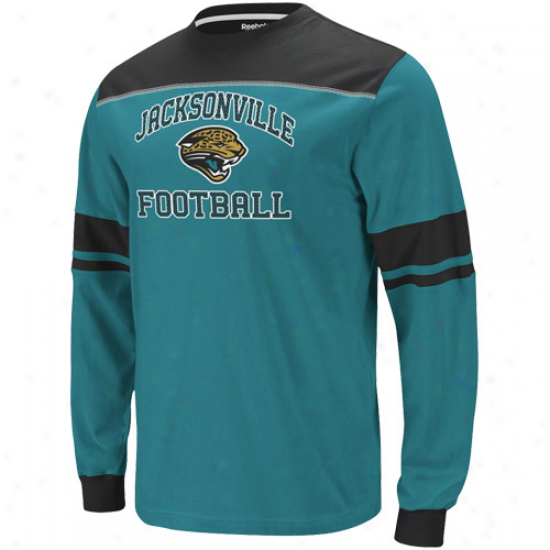 Reebok JacksonvilleJ aguars Power Sweep Long Sleeve T-shirt - Teal-black