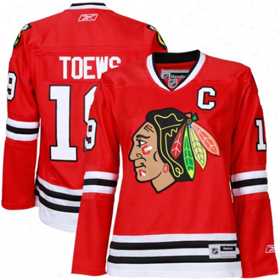 Rebok Jonathan Toews  Chicago Blackhawks Woman's Premier Jersey-red