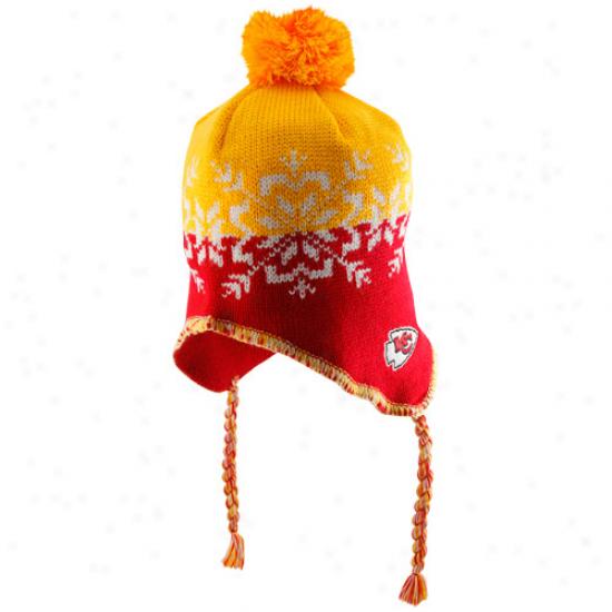 Reebok Kansas City Chiefs Ladies Red-gold Snowflake Tassel Join Beanie