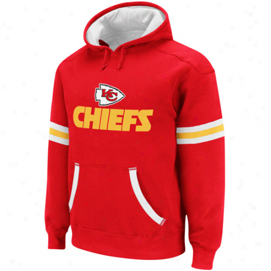 Reebok Kansas City Chiefs Red-white Qb Jersey Pullover Hoodie Sweatsyirt