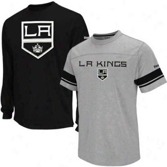 Reebok Los Angeles Kings Youth Black-ash Package T-shirt Combo Prescribe