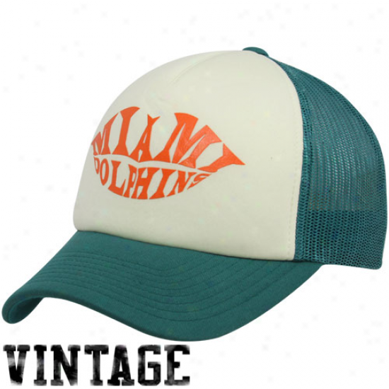 Reebok Miami Dolphins Ladies Aqua-natural Pucker Up Adjustable Trucker Hat