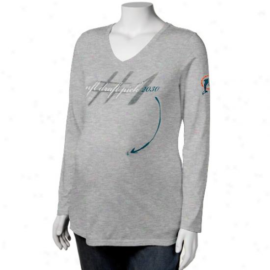 Reebok Miami Dolphins Ladies Gray Draft Pick 2030 V-ncek Maternity Long Sleeve T-shirt