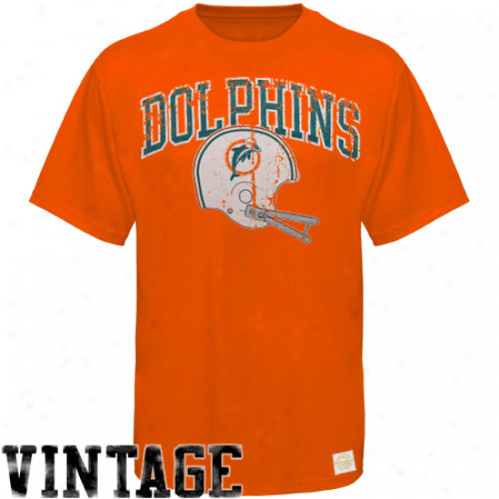Reebok Miami Dolphins Orange Buttonhook Vintage Premium T-shirt