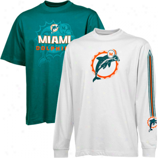Reebok Miami Dolphins White-aqua Package T-shirt Combo Set