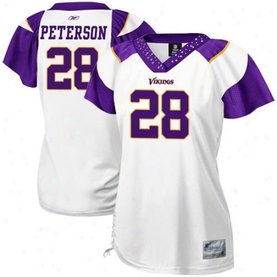 Reebok Minnesota Vikings #28 Adrian Peterson Ladies White Field Flirt Premium Fashion Jersey