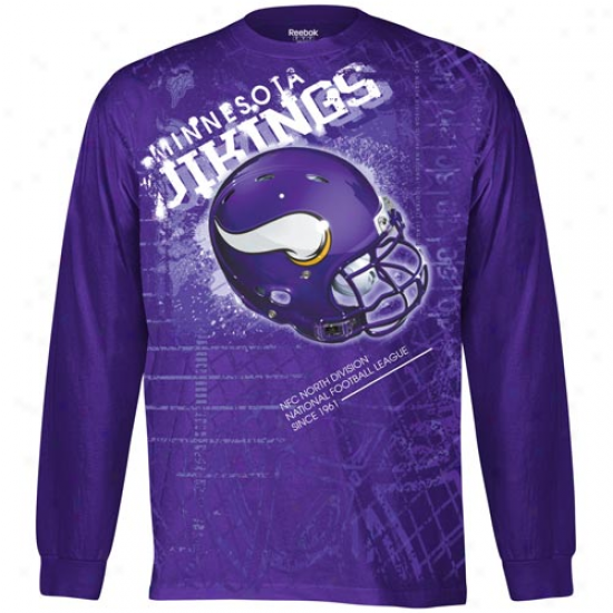 Reebok Minnesota Vikings Helmitude Long Sleeve T-shirt - Purple