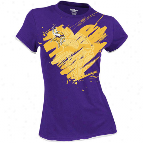 Reebok Minnesota Vikings Ladies Splash Of Love Cap Sleeve T-shirt -P urple
