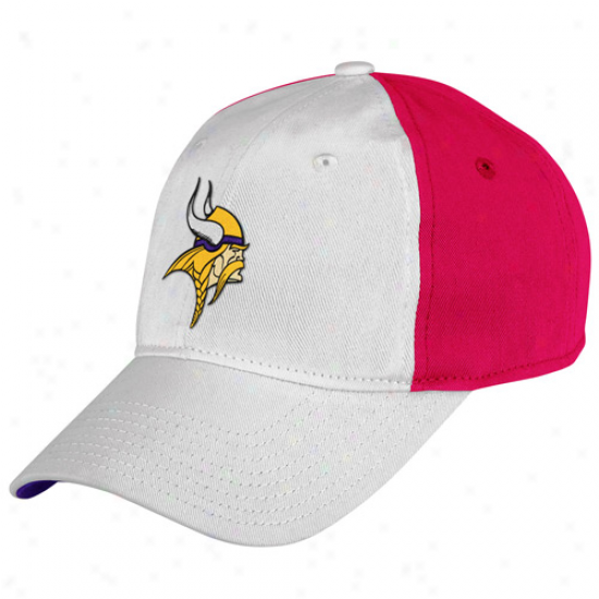 Reebok Minnesota Vikings Ladies White-pink Breast Cancer Awareness Adjustable Slouch Hat