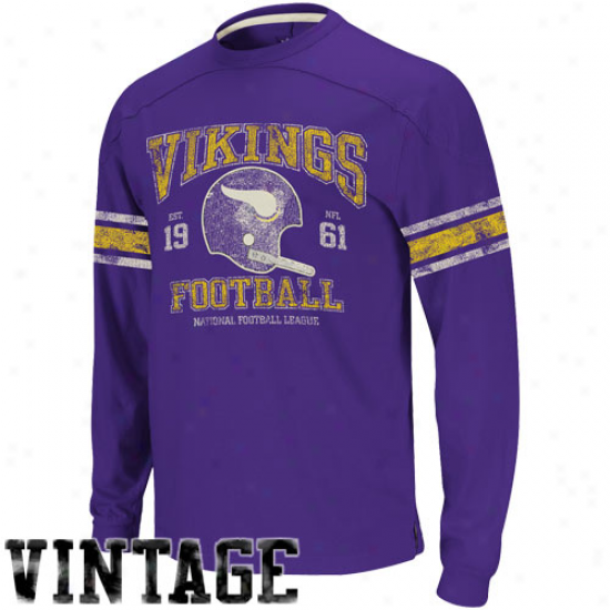 Reebok Minnesota Vikings Vintage Applique Premium Long Sleeve T-shirt - Purple