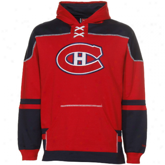 Reebok Monteal Canadiens Youth Red-navy Blue Power Trifle Lace-up Pullover Hoodie Sweatshirt