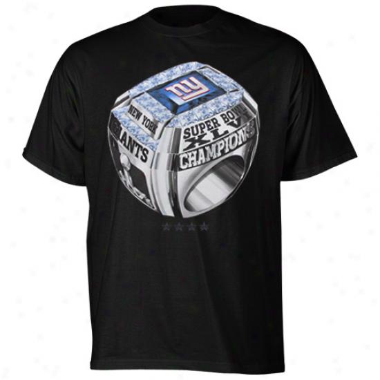 Reebok New York Giants Super Bowl Xlvi Champions Super Ringer T-shirt - Black