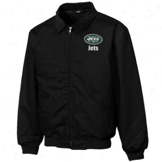 Reebok New York Jets Black Saginaw Cotton Canvas Full Zip Jacket