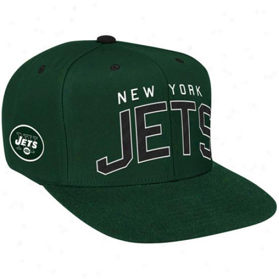 Reebok New York Jets Green Retro Arch Logo Snapback Adjustable Hat