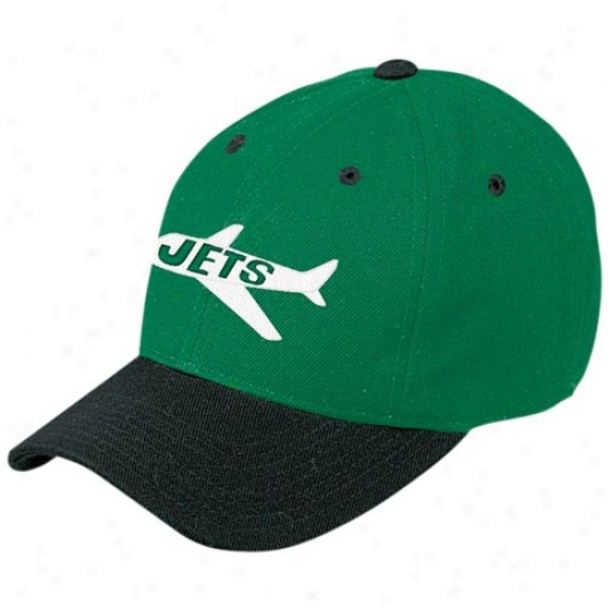 Reebok New York Jets Green Retro Logo Wool Blend Adjustable Hat
