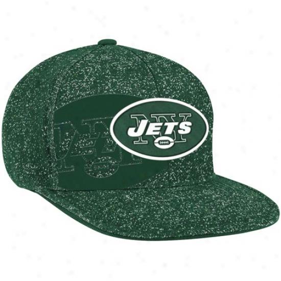 Reebok New York Jete Heathered Flat Brim Sideline Flex Hat - Green