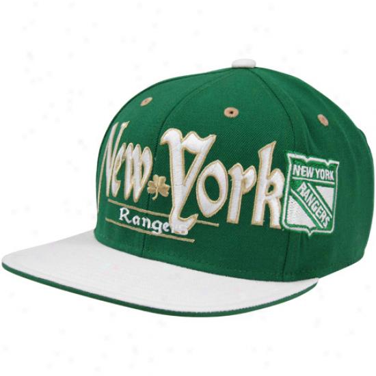 Reebok New York Rangers St. Patrick's Day Snapback Hat - Green-white