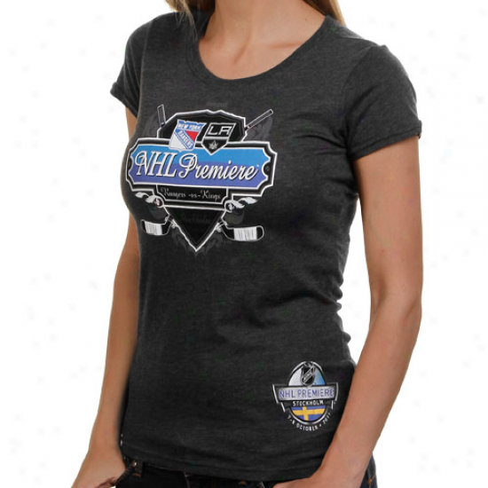 Reebok New York Rangers Vs. Los Angeles Kings Ladies 2011 Nhl Premiere Dueling Heathered T-shirt - Charcoal