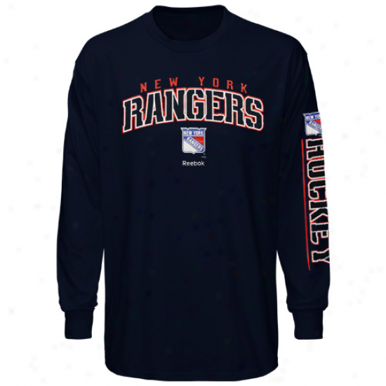 Reebok New York Rangers Youth Framework Long Sleeve T-shirt - Navy Blue