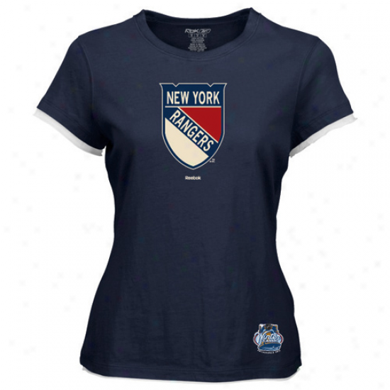 Reebok New York Rangers Youth Girls 2012 Winter Classic Logo Tissue T-shirt - Navy Blue