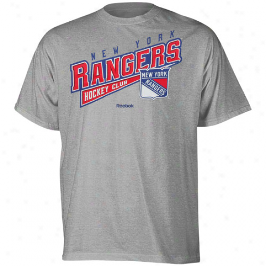 Reebok Repaired York Rangers Youth Hockey Swee T-shirt - Ash