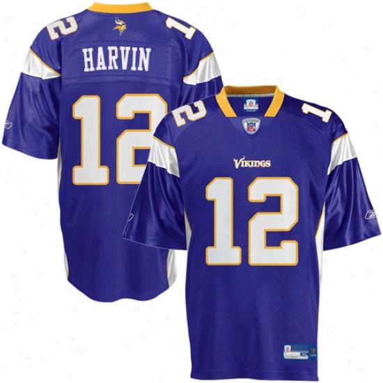 Reebok Nfl Equipment Minnezota Vikings #12 Percy Harvin Purple Replica Football Jersey