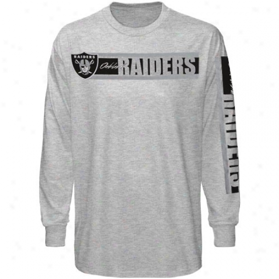 Reebok Oakland Raiders Ash The Stripes Long Sleeve T-shirt