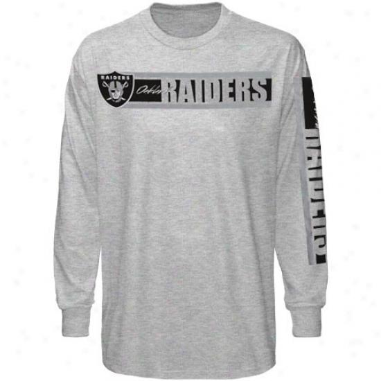 Reebok Oakland Raiders Ash The Stripes Long Sleeve T-shirt