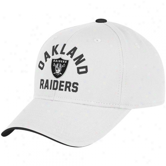 Reebok Oakland Raiders White Front And Center Adjustable Hat