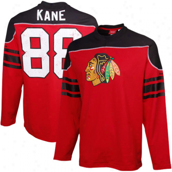 Reebok Patrick Kane Chicago Blackhawks #88 Face Off Shootout Player T-shirt - Red-black