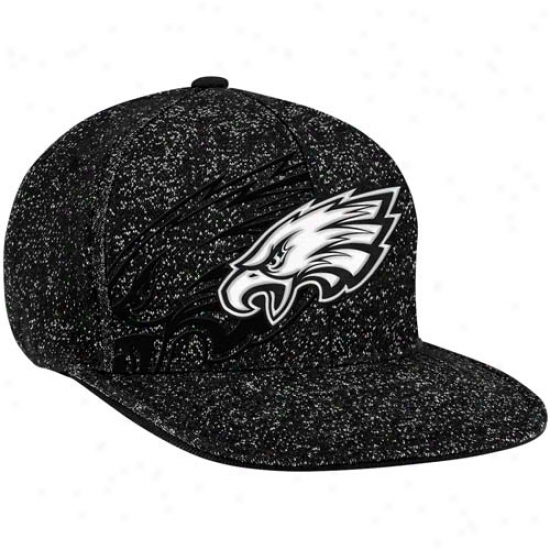 Reebok Philadelphia Eagles Heathered Flat Brim Sideline Flex Hat - Black