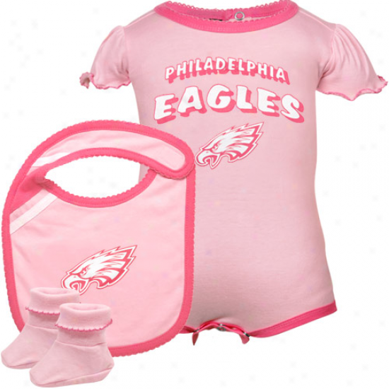 Reebok Philadelphia Eagles Infant Girls Pink Creeper, Bib & Bootie Offer for sale
