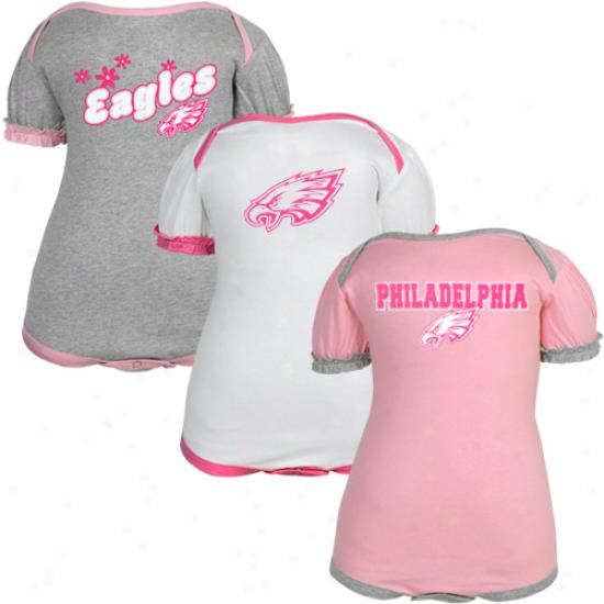 Reebok Philadelphia Eagles Infant Girls Pink-white-ash 3-pack Creeper Set