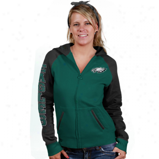 Reebok Pbiladelphia Eagles Ladies Green Letterman Full Zio Hoody Sweatshirt And Bandana
