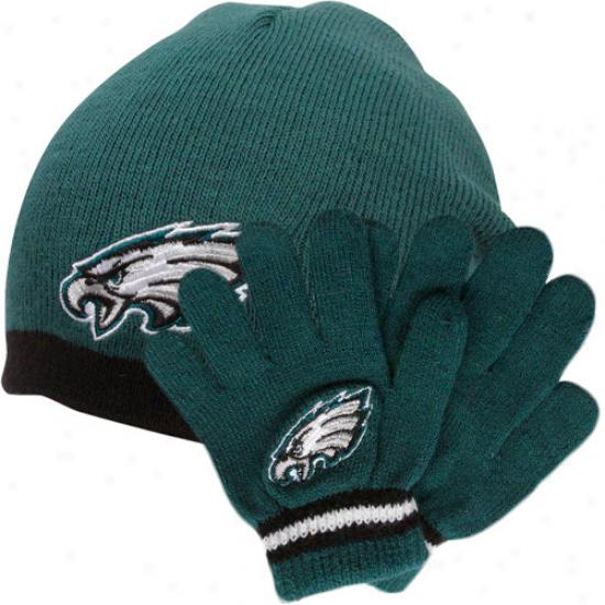 Reebok Philadelphia Eagles Toddler Beanie & Gloves Set - Midnight Green